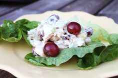 Quick Chicken Salad        1/2 cup mayo      1/2 cup plain greek yogurt      3 tablespoons dijon mustard      1 teaspoon honey      2 stalks finely diced celery      6 cups chopped cooked chicken      1 cup halved purple grapes