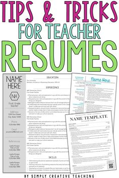 Land your ideal teaching job, whether it's your first year and you have no experience or you just want to update your teaching portfolio, these editable teacher resumes are unique & stand out! The design of each resume template is simple & creative, and the design ideas included are the perfect way to showcase your skills. These editable resumes can work for elementary, middle, or high school teachers - even special area teachers or special education teachers. Show your profile & objectives!