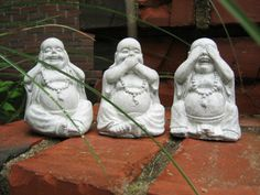 Buddha Statues, Three Laughing Buddha Figures, Hear No Evil, See No Evil, Speak No Evil. $29.95, via Etsy.