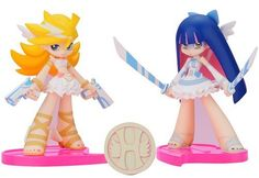 "Twin Pack+ : Panty & Stocking with Heaven Coin - Angel ver. (9 cm PVC figure x 2) [JAPAN] by Fat Company. $44.98. The Anarchy Sisters are descending from the heavens in their angel outfits!  From GAINAX's popular anime 'Panty & Stocking with Garterbelt' comes another figure set of the two angel sisters, this time as an 'Angel ver."", which features them both wearing their angel outfits.  Both Panty and Stocking are posed in sexy poses with their weapons at the re..."