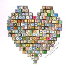 A Heart of Portuguese Azulejo Tiles.  A little fun before they become earrings and bracelets!
