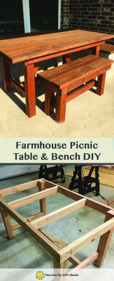 DIY Farmhouse Picnic Table and Bench