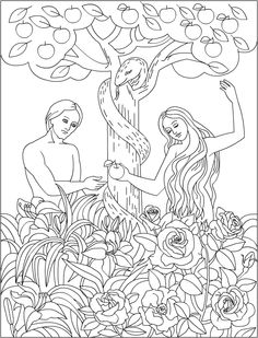 Adam and Eve in the Garden of Eden. Bible coloring page