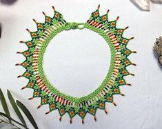 Large Okama Handmade Indigenous Rainbow Beaded Necklace   Etsy Crochet Earrings, Beaded Necklace, Good Spirits, Beaded Collar, Handmade Necklaces, South America, Necklace Lengths, Rainbow, Shakira