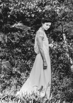 #Vestido de #novia blanco, estilo vintage. Diseñado por Laure de Sagazan.