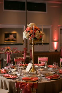Elegant Coral And Gold Wedding Reception Inspirations Flowers Decor And Styling By Splendid