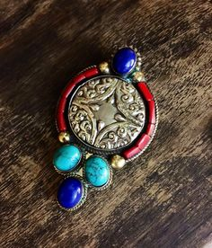 Tibet necklace -  ethnic jewelry -   Tibetan silver - stone jewelry -  turquoise stone - lapiz - . Artisan made by Omanie on Etsy