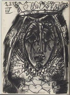 """Toros y toreros"" : mater dolorosa  Description :  Dessins de Picasso réalisés en mars 1959"