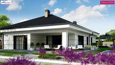 Z386 - Współczesny dom parterowy Bungalow House Design, Small House Design, Dream Home Design, Home Design Plans, Modern Family House, Modern House Plans, Modern Architecture House, Architecture Design, Exterior Wall Tiles