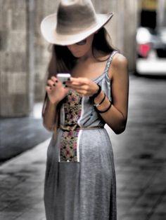 Jersey dress, urban grey, contemporary design, traditional design, unique, handmade embroidery.