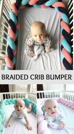 What a great way to make a crib bumper fun and cute! Love this! Affilink #baby #crib #babybumper #braid
