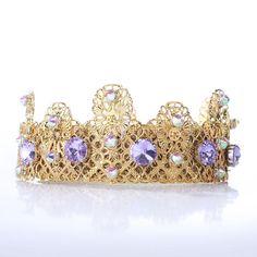 686c2abc7c31 Lilac Wedding Crown Women Bridal Tiara Gold tiara Swarovski Crystal Bridal  crown Gold crown Wedding headpiece