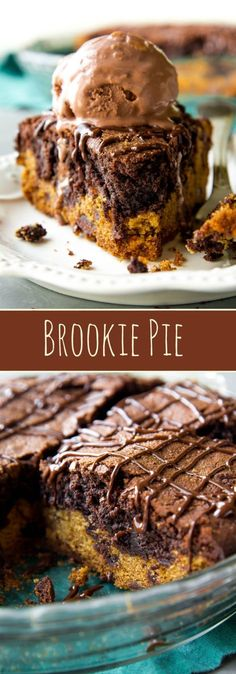 If you can't choose between chocolate chip cookies or brownies, have both in this brookie pie! Recipe on sallysbakingaddiction.com