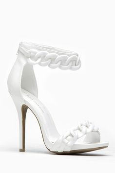 45602af72d21 Wild Diva White Oversized Chain Ankle Strap Heel   Cicihot Heel Shoes  online store sales