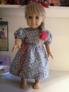 Handmade, old fashioned, cotton doll dress. Fits American Girl dolls. Washable. #zibbet