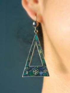 Sterling Silver Turquoise Earrings - Vintage Mexico