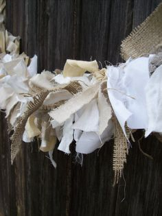Neutral Garland Linen and Burlap Mantel Decor Custom Lengths Wedding Decorations Rag Fabric Swag Mantle Garland Rag Garland, Burlap Garland, Fabric Garland, Bunting Garland, Burlap Bunting, Buntings, Farmhouse Christmas Decor, Country Christmas, Christmas Crafts