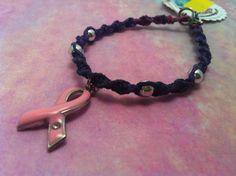 #Pink #ribbon #breast #cancer #hemp #bracelet from hemptressdesigns.com - $3.00