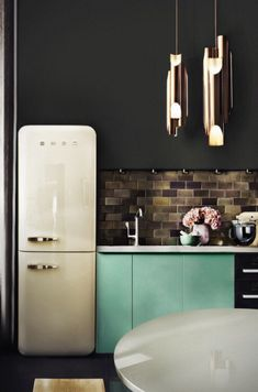 found by hedviggen ⚓️ on pinterest | kitchen | interior design | interior styling | walls | floor | modern | black wall | clean | dining | eat | smeg | fridge | dark wall