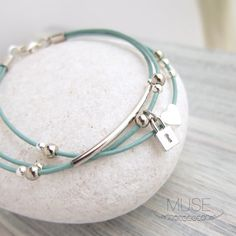 Silver Charm Leather Bracelet  Layered Bracelet Charm by MuseByLAM, $24.00
