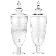 Lismore Beverage Dispenser prettiest ones I've seen $69.95 at Z Gallerie.  For lemon and lime flavored water.