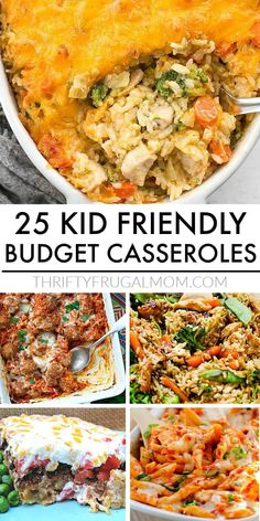 These cheap kid-friendly casseroles are perfect for easy, healthy family dinners! So many delicious options- chicken, beef, rice, pasta, potatoes, ham, Mexican inspired, comfort food flavors. You name it, it's here. Add a couple to your menu this week! #thriftyfrugalmom #kidfriendly #cheapcasseroles Healthy Weeknight Meals, Healthy Family Dinners, Frugal Meals, Cheap Meals, Quick Meals, Kids Meals, Healthy Recipes, Delicious Recipes, Healthy Food