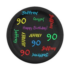 Paper Plates, 90th Birthday Party, Repeating Names - What a wonderful, personalized paper plate for a 90th birthday party or  other occasion. Name and Age repeat in different fonts and primary colors on black background. Easy to personalize - CHANGE NAME, AGE, and OCCASION in ONE PLACE. Supports name up to 9 characters.  Matching tablecloth & paper napkins available on zazzle at SocolikCardShop. All Rights Reserved © 2014 A&M Socolik.