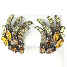 Citrine & Golden Topaz 1950s Earrings by Elsa Schiaparelli