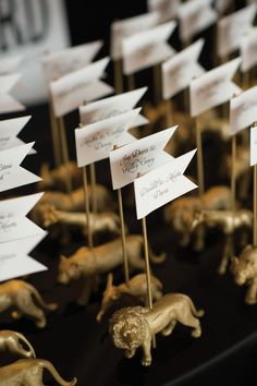 Circus themed escort cards. Photo by Coburn Photo. #wedding #escortcard #animal #gold #circus #whimsical