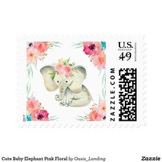Cute Baby Elephant Pink Floral Postage - An adorable baby elephant with a bouquet of pink flowers on her head, surrounded by matching watercolor flowers. A great choice for Baby Shower Invitations. Matching products also available. Sold at Oasis_Landing on Zazzle.