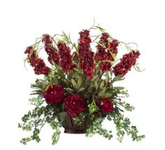 Burgundy Silk Flower Centerpiece with Stock Flowers ARWF1148