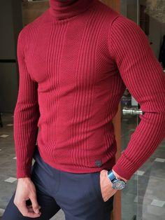 Turtleneck Outfit, Striped Turtleneck, Men's Wardrobe, Red Shirt, Wool Sweaters, Menswear, Men Casual, Turtle Neck, Slim