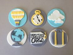 Travel Theme Baby Shower Cupcake Toppers