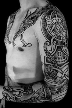 Viking Jormungand Tattoo was one of the most famous Viking Tattoos. The Viking Jormungand Tattoo somehow reflected the Ouroboros Tattoo representing the infinite circle of life and death. Tattoos Masculinas, Celtic Tattoos, Viking Tattoos, Body Art Tattoos, Tribal Tattoos, Cool Tattoos, Awesome Tattoos For Guys, Warrior Tattoos, Tatoos