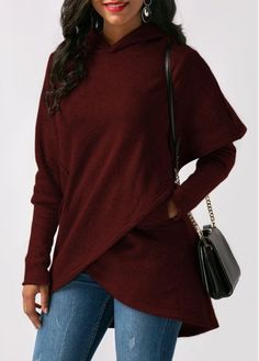 Wine Red Asymmetric Hem Long Sleeve Pocket Hoodie on sale only US$32.13 now, buy cheap Wine Red Asymmetric Hem Long Sleeve Pocket Hoodie at Rosewe.com