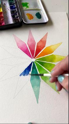 Watercolor Paintings For Beginners, Watercolor Art Lessons, Easy Watercolor, Simple Paintings For Beginners, Simple Watercolor Flowers, Simple Flower Drawing, Flower Art, Flower Drawings, Art Drawings Beautiful