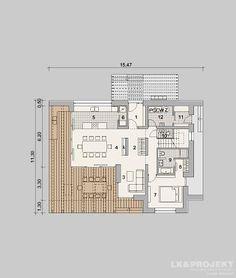 Projekty domów LK Projekt LK&1174 rzuty Parter