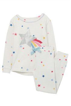 Buy Little Joule Girls' Sleepwell Star Pyjamas, White/Blue from our Girls' Pyjamas & Nightwear range at John Lewis & Partners. Cozy Pajamas, Girls Pajamas, Pyjamas, Joules Girls, Joules Clothing, Country Outfits, Colourful Outfits, Star Designs, Blue Stripes