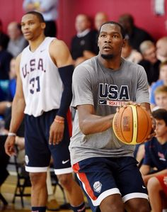 Aug. 11, 2015   Kevin Durant and Russell Westbrook practice during Team USA mini-camp in Las Vegas. Read about the Thunder duo's committment to USA Men's Basketball at okcthunder.com.