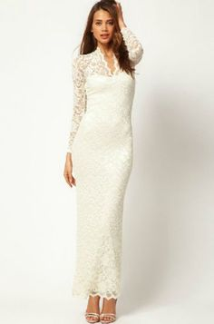 White Long Sleeve Embroidered Hollow Lace Dress