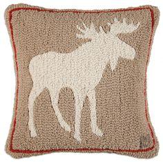 """Khaki Moose 18"""" Hooked Wool Pillow"""