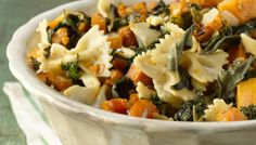 Sweet Roasted Butternut Squash and Greens Over Bow-Tie Pasta