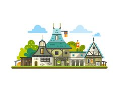 Medieval fortress and house by TastyVector