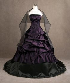Cheap bridal gown, Buy Quality wedding dress ball gown directly from China vestido de noiva Suppliers: Vintage Gothic Black Wedding Dresses Ball Gown Strapless Beads Embroidery Bridal Gowns 2017 vestidos de noiva Custom Size Plum Wedding Dresses, Alternative Wedding Dresses, Bridal Dresses, Wedding Gowns, Purple Wedding, Wedding Colors, Wedding Flowers, Bridesmaid Dresses, Alternative Style
