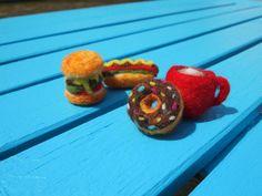 Hand made needle felt coffee, donut, hamburger and hotdog magnet set on Etsy, $12.00