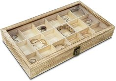 "Amazon.com: Mooca Wooden Display Storage Case with Tempered Glass Lid for Jewelry and Beads with 18 Compartments Tray, Oak Color, 15"" W x 8 3/4"" D x 2"" H: Home & Kitchen Jewelry Tray, Beaded Jewelry, Rock Box, Bead Storage, Oak Color, Wooden Beads, Home Kitchens, Display, Dramas"