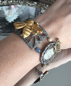 queen bee  vintage assemblage bracelet by TheFrenchCircus on Etsy