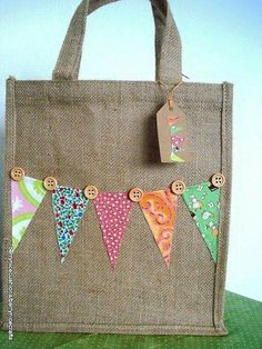 Items similar to Medium Jute Bag with Mixed Pink Bunting Lunch Bag Gift Bag Book Bag on Etsy Hessian Crafts, Hessian Bags, Jute Bags, Hessian Bunting, Fabric Bags, Fabric Scraps, Pink Bunting, Decorated Gift Bags, Diy Tote Bag