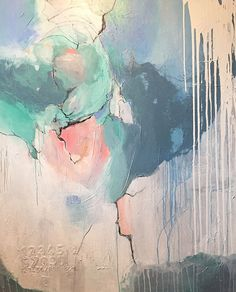 """Huge 48"""" X 60"""" ORIGINAL ABSTRACT Art, blue, aqua, pink, green, gray, grey, xl…"""