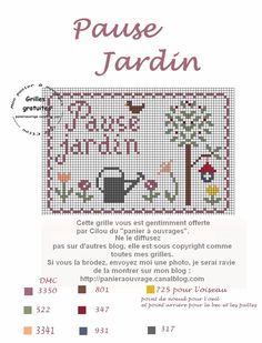 pause jardin Loom Patterns, Cross Stitch Patterns, Cross Stitch Freebies, Single Words, Cross Stitch Flowers, Le Point, Loom Beading, Pin Cushions, Cross Stitching